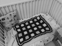Ikea cot/toddler bed, handmade rocker & cot-top change table