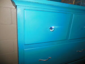antique dresser, nightstands, stools, etc. painted,  teal London Ontario image 3