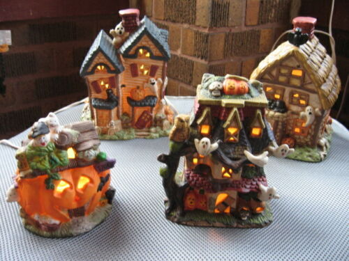 Vintage Halloween Lot of 4 Lighted Haunted Houses