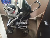Mothercare Trenton Deluxe( REDUCED PRICE) Baby Infant Car Seat, a carrycot, cosytoes