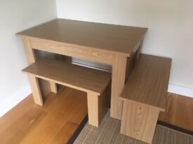 Oak Style Table & Two Benches