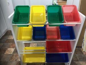 Organisateur de jouets à 12 caisses blanc