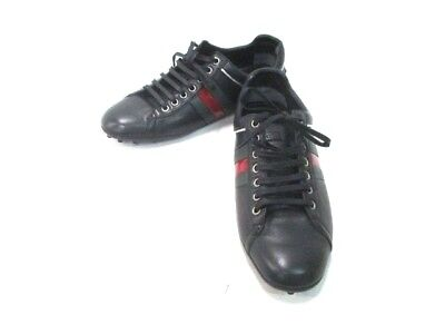 Auth GUCCI Shelly Black Green Red Leather Shoes Men