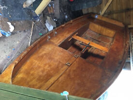 Mirror dinghy (wooden) with everything required for sailing and rowing plus launch trailer