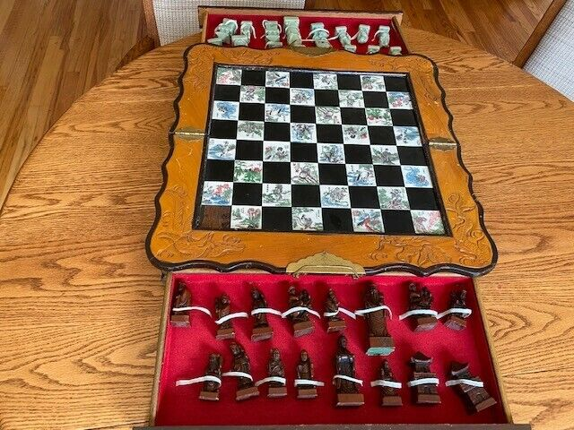 Original Handmade Chinese CHESS SET, Ivory Pieces, Marble Inset Board, est. 1920