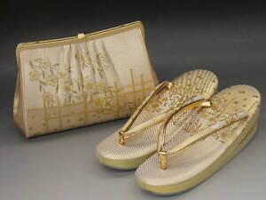 UNUSED-Light-Gold-Silk-ZORI-23cm-amp-Bag-Set-with-034-SAKURA-034-B510
