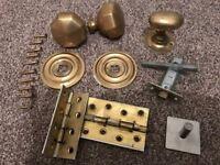Victorian Brass door furniture Front Door handles, brass plates, hinges (Worth £60 new)