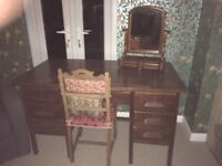 fabulous dark oak desk/ dressing table and victorian swing mirror