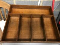 2 Hand made large wood cutlery drawer organisers