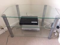 TV STAND SILVER GLASS 3 LEVELS