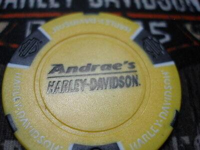 Yellow & Black Poker Chip Andrae's Harley Davidson Urbana, IL.