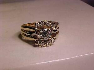 #1010-14K Y/W/Gold 3 pc WEDDING SET-1/2carat CENTRE STONE-APPRAISED $5,750.00-Size 4 1/2--WILL ACCEPT EBANK TRANSFER