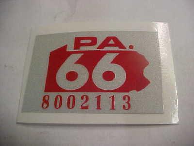 1966 pennsylvania  license plate  registration sticker