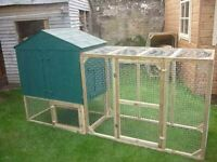 CHICKEN COOP WITH COVERED/UNCOVERED RUN