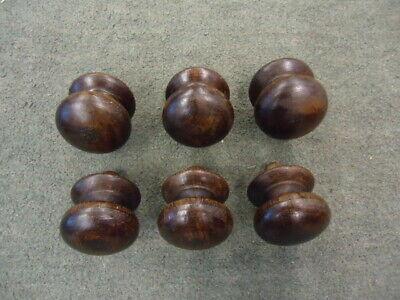 Set Of 6 Vintage Hardwood Drawer Knobs