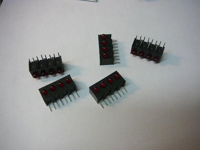 HEWLETT PACKARD HLMP-1300#104 LED CBI 3MM Array 1X4 RED **NEW** 5/PKG