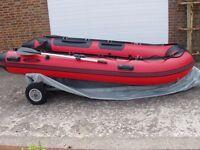 Brand new 380 3.8m inflatable boat new aluminium deck v keel diving fishing etc