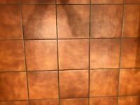One square metre 10mm thick warm brown floor tiles