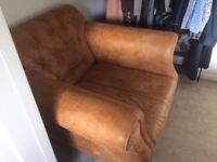 Real leather lounge chair
