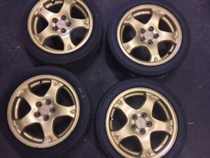 jdm wheels for subaru wrx 5x100 gold