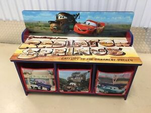 Cars themed movie kids bench with under storage with soft bins.