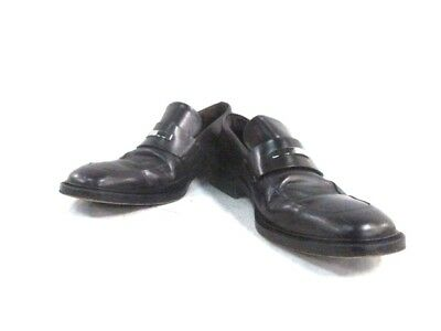 Auth GUCCI DarkBrown Leather Shoes #40.5(US#8)