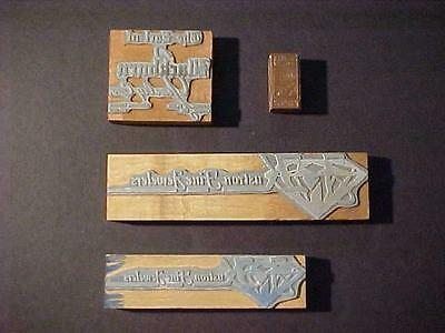 Antique Business Graphic Type Letterpress Vintage Old Wooden Printers Block Lot
