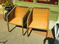 ART DECO WICKER BERGERE CHAIRS c.1980