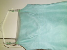 mint nylon bridesmaid dress never worn size16 and nylon scarf for over shoulders