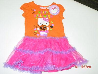 NWT Toddler Girls Hello Kitty Tutu Dress Orange Happy Halloween Party Fancy ](Hello Kitty Happy Halloween)