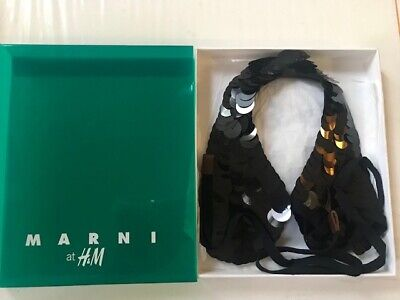 NIB RARE MARNI H&M BLACK SEQUIN necklace COLLAR With Box