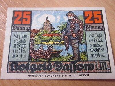Schöner Notgeld Schein 25 Pfennig Stadt Dassow i. M. gültig bis 1. Juli 1922