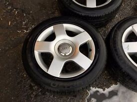 SET OF 4 & SPARE AUDI WHEELS & TYRES 16""