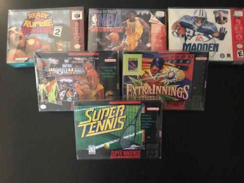 10 SUPER NINTENDO .50mm THICK VIDEO GAME SNES/N64 BOX PROTECTORS CLEAR CASES CIB