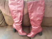 New Look Ladies Burgundy Long Boots Size 8-