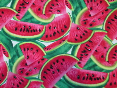 Cotton Food (WATERMELON SLICES REALISTIC FRUIT FOOD COTTON FABRIC FQ )