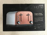 Sainsbury's Home Copper Shine 4 Slice Toaster - NEW & UNUSED IN ORIGINAL PACKAGING
