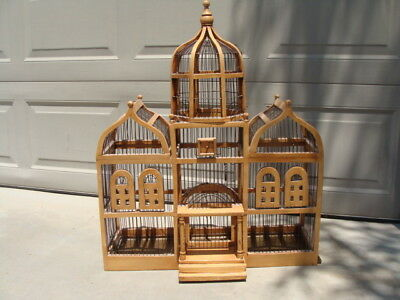 "Large Bird Cage Wood & Wire Domed Victorian Taj Mahal Style, 33"" by 28"""
