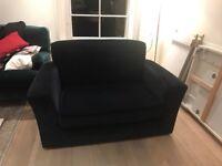 Navy blue Habitat sofa (with single sofa bed)