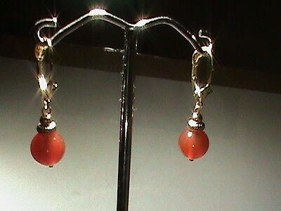 - 14kt Gold Leverback Earrings w/ Fine Gem Carnelian Dangle ALL 14kt Gold & Nice !