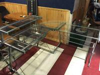 "Glass ""L"" Shaped Desk"