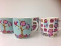 4 x Owl mugs for sale