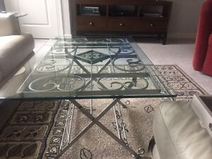 Condo sized glass/metal coffee table