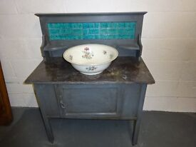 Oak Marble Top Wash Stand on Castor's