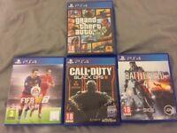 PS4 GAMES - GTA5+ COD Black Ops 3+ FIFA 16 + BATTLEFIELD 4