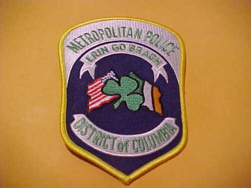 METROPOLITAN D.C. IRISH POLICE PATCH SHOULDER SIZE UNUSED