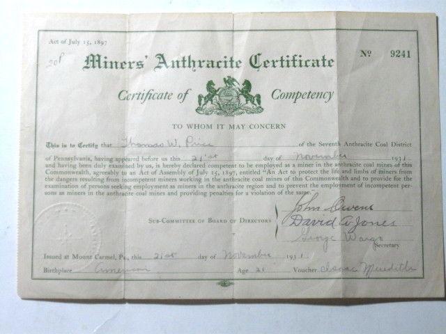 "VINTAGE ANTHRCITE COAL MINER MINING CERTIFICATE 1931.  7"" X 10"" Original"