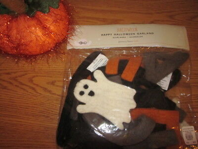 Pottery Barn Kids Felted WOOL Happy Halloween Ghost Banner Garland Rare  NEW - Happy Halloween Garland