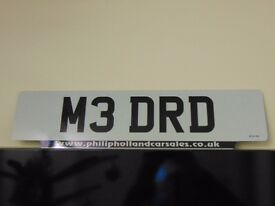 PERSONALISED REGISTRATION NUMBER PLATE REG NO: M3 DRD