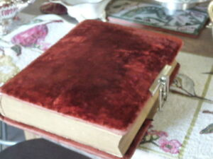 Large Antique Red Velvet Covered Photo Album And Photos.